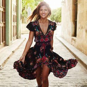 Boho Chiffon High-Low Dress NWT